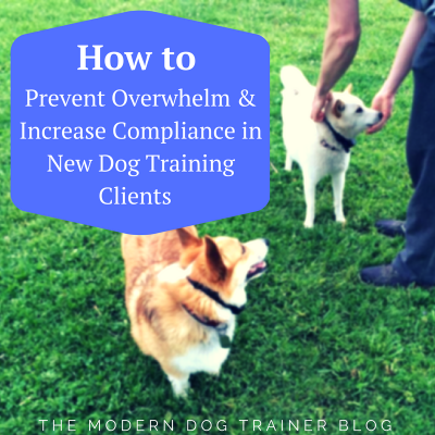 How to Prevent Overwhelm and Increase Compliance in New Dog Training Clients